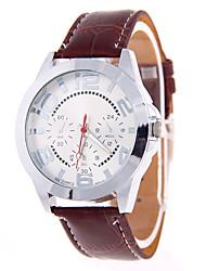 Fashion Watch Quartz Leather Band Black Brown