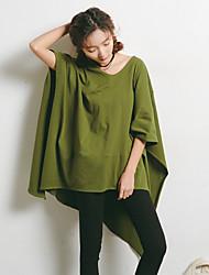 Feminino Camiseta Tamanhos Grandes SimplesSólido Vermelho Branco Preto Cinza Verde Algodão Poliéster Decote V Meia Manga