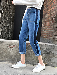 Real shot hit the color jeans female personality front side vertical pockets significant lanky waist straight jeans Nett