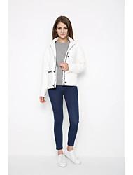 Manteau Femme,Couleur Pleine Sortie Vintage Manche Longues Mao Repasser à l'envers Coton Normal Printemps
