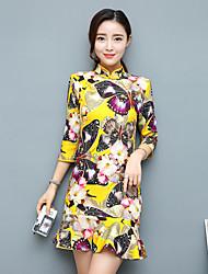 assinar 17 novos modelos primavera manga vestido cheongsam pacote fino hip temperamento manga melhorada de algodão chinês meninas