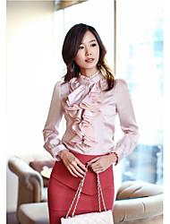 2017 корейский суд темперамент с длинными рукавами, воротник Leisi он качества листьев края блуза рубашка