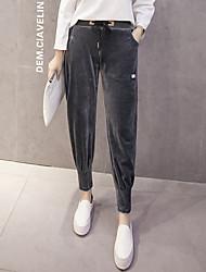 Zeichen Bewegung Gold Samt Pluderhosen weibliche elastische Taille beiläufige lange Hosen wei Hose geschlossen Füße Studenten