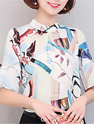ashion Summer Printing 1/2 Sleeves Stand Up Speaker Sleeves Elegant Chiffon Shirt Dating Home Must Upper Outer Garment