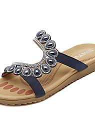 Women's Sandals Spring Summer Fall Comfort Light Soles PU Office & Career Dress Casual Flat Heel Rhinestone Beading Royal Blue Almond