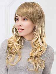 Fashion Long Natural Wave Ombre Blends Capless Human Hair Wig For Girls And Women 2017