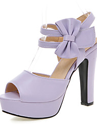 Sandals Spring Summer Fall Club Shoes PU Office & Career Dress Casual Chunky Heel Bowknot Hook & Loop Black Pink Purple Beige