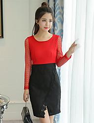 nova moda coreana mulheres costura rendas vestido de mangas compridas magro era saia etapa de divisão fina