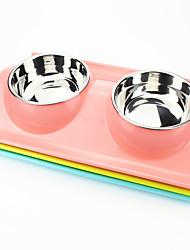 Cat Dog Bowls & Water Bottles Pet Bowls & Feeding Waterproof Green Blue Pink Plastic Stainless Steel