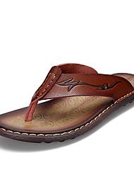 Chinelos de homem&Flip-flops verão luz solas couro pele casual amarelo marrom escuro