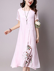 Women's Going out Casual/Daily Street chic Chinoiserie Loose Dress Print Patchwork False Two Midi Cotton /Linen Blue /Pink /White Summer