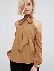 ebay aliexpress novas mulheres da moda&# 39; s de gola alta rendas strapless camisa de cor sólida de lazer selvagens