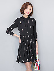 2017 spring new Korean version of printing long pleated dress shirt collar was thin waist chiffon skirt bottoming