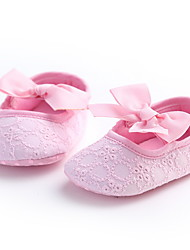 Baby Flats First Walkers Fabric Spring Fall Casual Outdoor Walking First Walkers Low Heel White Yellow Blushing Pink Flat