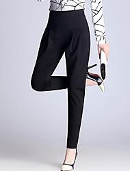 Tamanhos Grandes Harém Chinos Negócio Calças-Cor Única Casual Trabalho Simples Cintura Alta Elasticidade Poliéster Elastano Com Elástico