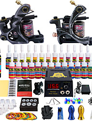 Complete Tattoo Starter Kit 2 Machine Gun 28 Color Inks Set Power Needle TipTK224