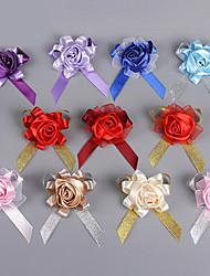 Bouquets de Noiva Redondo Rosas Alfinetes de Lapela Casamento Festa / noite Poliéster Cetim Seda Organza