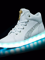 Women's Sneakers Winter Light Up Shoes PU Outdoor Flat Heel Lace-up LED White Black Walking