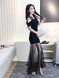 Sign 2017 new Slim package hip sexy strapless gauze knit two-piece dress
