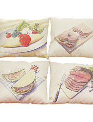Set of 4 Color pencil drawing  pattern  Linen Pillowcase Sofa Home Decor Cushion Cover