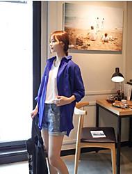 синий cherrykoko корея отворот покупке свободно рубашку с длинными рукавами женщин летом