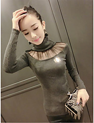 Long autumn and winter fashion Korean high collar net yarn stitching bottoming sweater jacket hedging Slim
