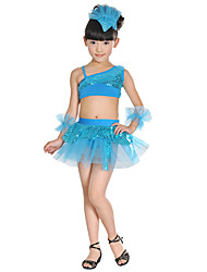 Latin Dance Outfits For Girls Children's Performance Acrylic Bow(s) Sequins Splicing 5 Pieces Sleeveless High Top Skirt Bracelets