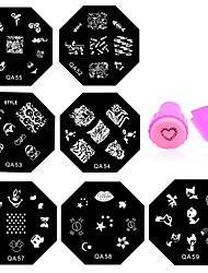 10pcs Nail Art Stamping Plates Set Nail Stamp Template Mould Stencil Nail Tools with Stamper Scraper(QA51-QA60)