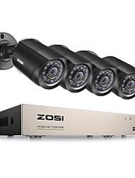 ZOSI®8-Channel 1080N HD-TVI DVR Surveillance Camera Kit 4x 1280TVL Indoor Outdoor IR Weatherproof Cameras