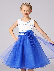 Ball Gown Knee-length Flower Girl Dress - Organza Jewel with Embroidery Flower(s)