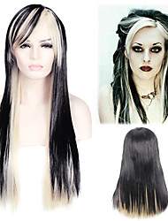 Daily Hairstyle Blonde with Dark Colour Long Length Staight Heat Resistant Layered Synthetic Wig Witch Party Cosplay Hair Wig for Halloween Custome