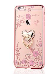 Назначение iPhone 8 iPhone 8 Plus Чехлы панели Стразы Покрытие Кольца-держатели Задняя крышка Кейс для Цветы Мягкий Термопластик для Apple