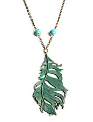 Women's Pendant Necklaces Alloy Leaf Euramerican Light Green Jewelry Birthday Daily 1pc