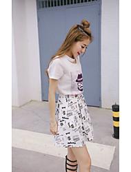 2016 новый корейский моды хлопка футболку юбка костюм из двух частей печати трехмерная была тонкая женская свободная