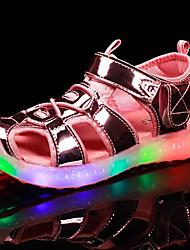 Sandals Summer Gladiator PU Outdoor Flat Heel Buckle Pink Silver Gold Walking