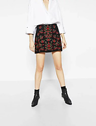 Women's Mid Rise Above Knee Skirts,Cute Street chic A Line Embroidered Color Block
