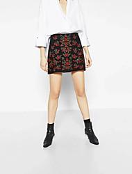 Mujer Adorable Chic de Calle Tiro Medio Sobre la Rodilla Faldas,Línea A Bordado Bloque de Color