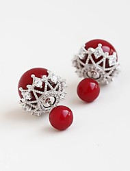 Body Jewelry Ear Piercing Pearl Sterling Silver Fashion Flower Red Jewelry Halloween Gift Valentine Christmas Gifts 1 pair