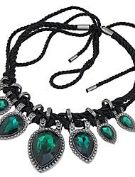 Women's Statement Necklaces Gemstone Glass Alloy Teardrop Fashion Euramerican Statement Jewelry Dark Blue Gray Deep Green JewelryParty