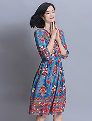Sign temperament retro national wind V-neck printed silk dress heavy silk big code A word