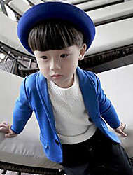 Boy's Fashion Going out Casual/Daily Solid Suit Jacket & Coat Cotton Spring Fall Long Sleeve Dresswear Blue/Black