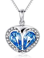 Pendentif Cristal Cristal Zircon Imitation de diamant Cœur Bleu Bijoux Quotidien Décontracté 1pc
