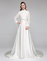 A-Line High Neck Chapel Train Chiffon Lace Satin Wedding Dress with Sash / Ribbon Bow by LAN TING BRIDE®