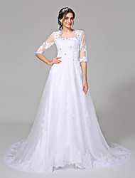 De Baile Vestido de Noiva Cauda Catedral Decorado com Bijuteria Tule com Com Apliques / Miçanga