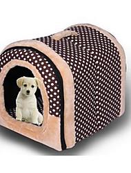 Cat Dog Bed Pet Mats & Pads Polka Dots Soft Brown