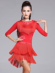 Latin Dance Dresses Women's Performance Lace Milk Fiber Lace Tassel(s) 2 Pieces 3/4 Length Sleeve High Dress Shorts