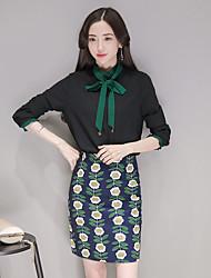Sinal de Loja, modelos primavera 2017 nova moda primavera camisa pacote saia hip terno de duas peças
