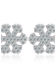 925 Sterling Silver Necklace AAA Cubic Zirconia Stud Earrings Jewelry Snow Flower Party Daily Casual Sterling Silver 1 pair Silver