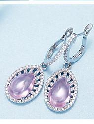 Tropfen-Ohrringe Sterling Silber Zirkon Kubikzirkonia Modisch Rosa+Weiß Schmuck Alltag Normal 1 Paar