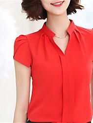 Для женщин На выход На каждый день Офис Весна Лето Рубашка V-образный вырез,Уличный стиль Однотонный С короткими рукавами,Полиэстер,
